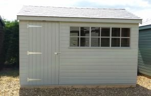 3.0 x 3.6m Superior Shed in Pebble with Apex Roof covered in Grey Slate Effect Tiles