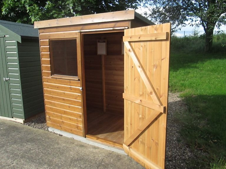 1.2 x 1.8m garden shed from our Classic Shed range in Light Oak with a pent roof