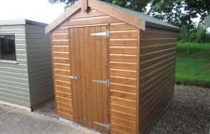 1.8 x 2.4m Classic Shed in Light Oak with an Apex Roof