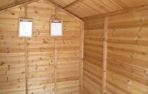 Inside the 1.8 x 2.4m Light Oak Classic Shed at our Nottingham Show Site