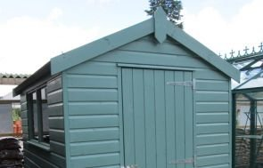 1.8 x 2.4m Classic Shed with an Apex Roof painted all over in the colour Mint