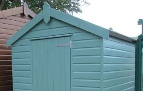 1.8 x 2.4m Classic Shed painted in Mint with an Apex Roof