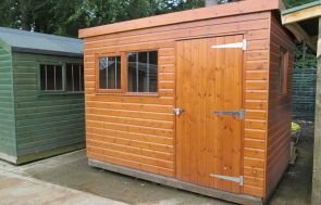 1.8 x 3.0m Superior Shed in Sikkens Teak with Security Pack
