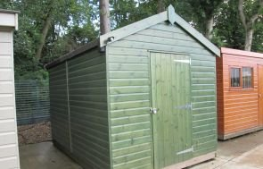 2.4 x 3.6m Superior Shed in Sikkens Green with Apex Roof