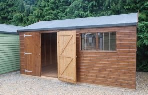 3.0 x 4.8m Superior Shed in Sikkens Walnut with Security Pack