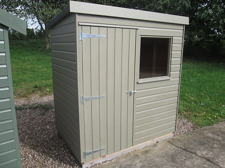 1.2 x 1.8m Classic Shed with smooth shiplap cladding painted in Stone and a pent roof