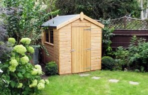 Classic Shed finished in light oak preservative