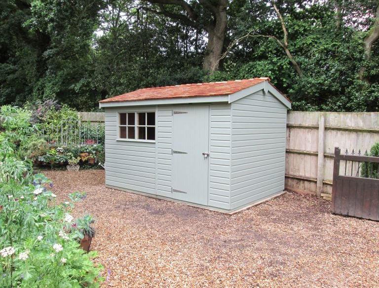 Superior Shed with Lizard Paint from our Exterior Paint System, Georgian Windows and a Security Pack