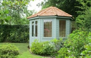 8 x 10 Wiveton Summerhouse in Sage Paint with Leaded Windows