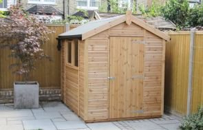 an attractive and compact garden shed with an apex roof covered with heavy-duty, heat-bonded felt.