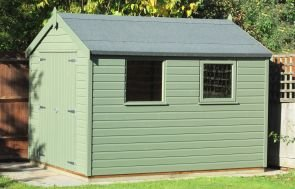 A medium sized garden shed with an apex roof covered in heavy-duty, heat-bonded felt. The exterior is clad with smooth shiplap timber and it has two windows in the length.