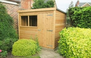 Classic Shed in a Light Oak Preservative with a Pent Roof covered in Heavy Duty Roofing Felt