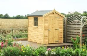An apex classic garden shed with a heavy-duty felt roof and smooth shiplap cladding painted in our light oak preservative.