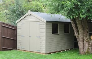 Classic garden shed with an apex roof covered with heavy-duty felt clad with smooth shiplap painted in Stone