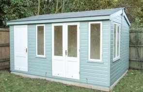 Holkham Summerhouse with an externally accessed storage partition and apex roof. The roof is covered with slate composite tiles and the exterior shiplap is painted in a two tone fashion.