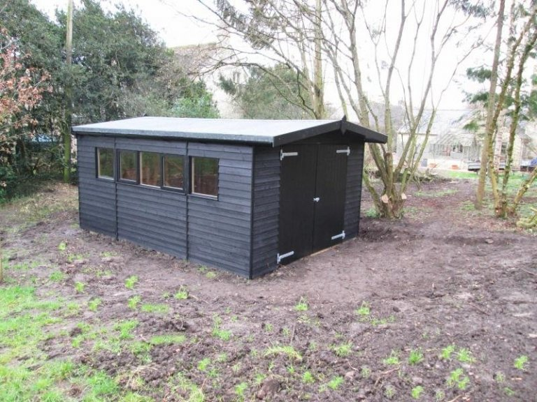 Timber Garage with Roof Overhang - Westwell