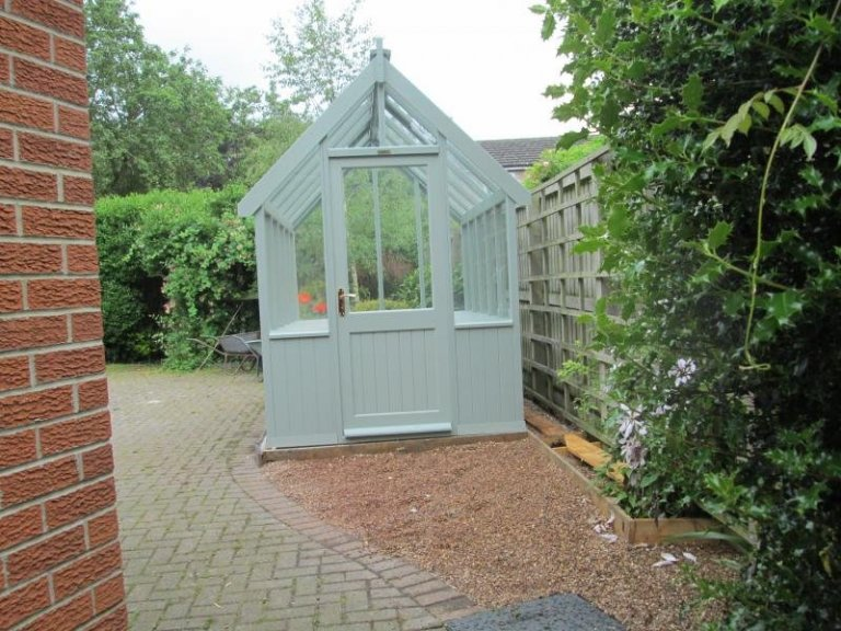 Painted Greenhouse with Slatted Benches - Saxilby