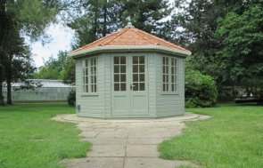 An attractive wooden summerhouse with a distinctive octagonal shape and georgian windows. The wiveton summerhouse is an insulated and lined summerhouse.