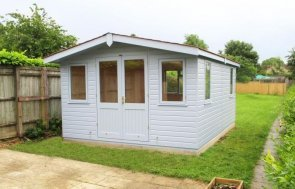 A spacious and stylish garden studio perfect for a work from home office. The garden room has opening windows, a small overhang on the gable end of the roof and can be a garden office with lining and insulation.