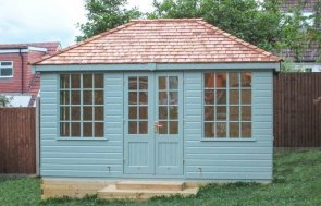 An attractive and traditional wooden summerhouse with a hipped roof and georgian windows. The cley summerhouse comes with insulation and lining