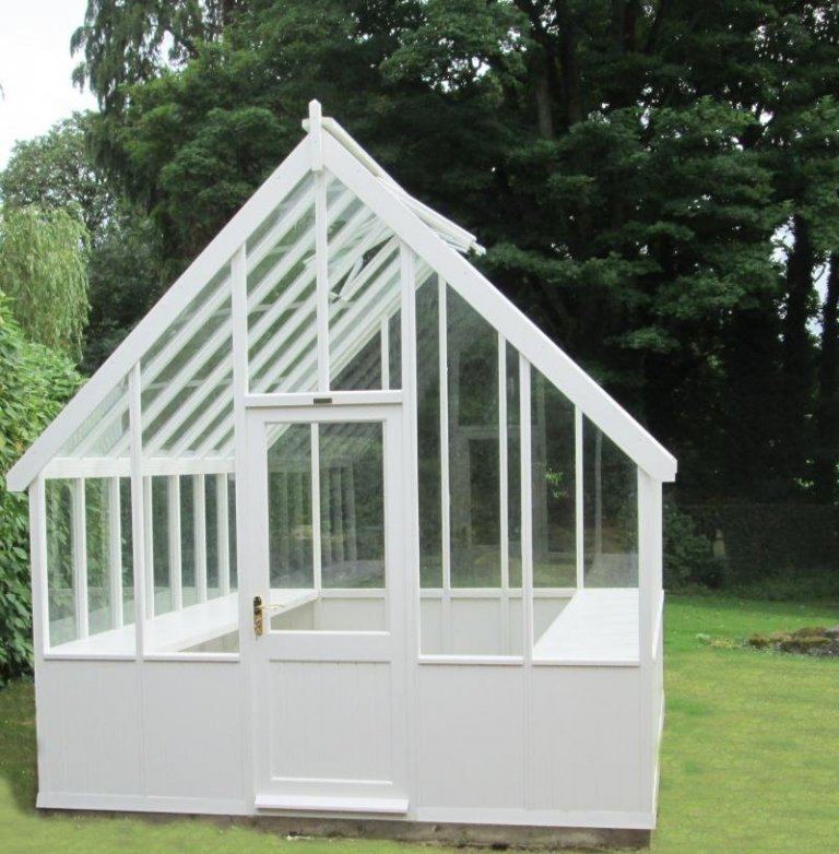 Timber Greenhouse with Slatted Benches - Aylesbury