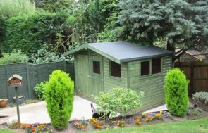 An attractive timber superior shed with an apex felt roof and opening windows. The wooden garden workshop is clad with smooth shiplap and painted in our sikkens preservative stain in green.