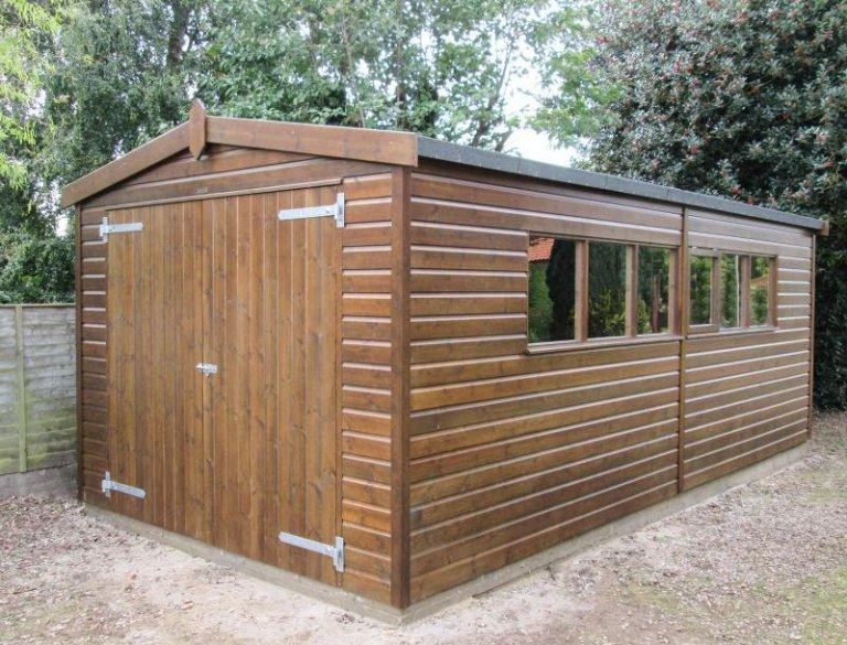 Timber Garage with Wooden Double Doors - King's Lynn