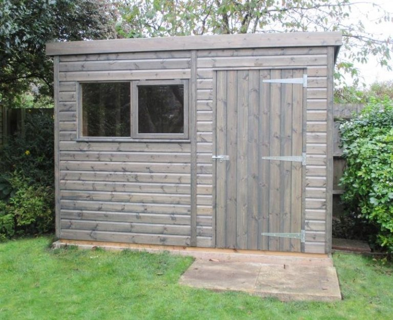 Superior Shed Painted in Grey Stain - Chieveley