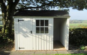Traditional national trust garden shed with built-in logstore and georgian window. It has an apex roof covered with corrugated material and vertically-sawn, rusit ccut cladding painted in 1 of 6 national trust paint shades.
