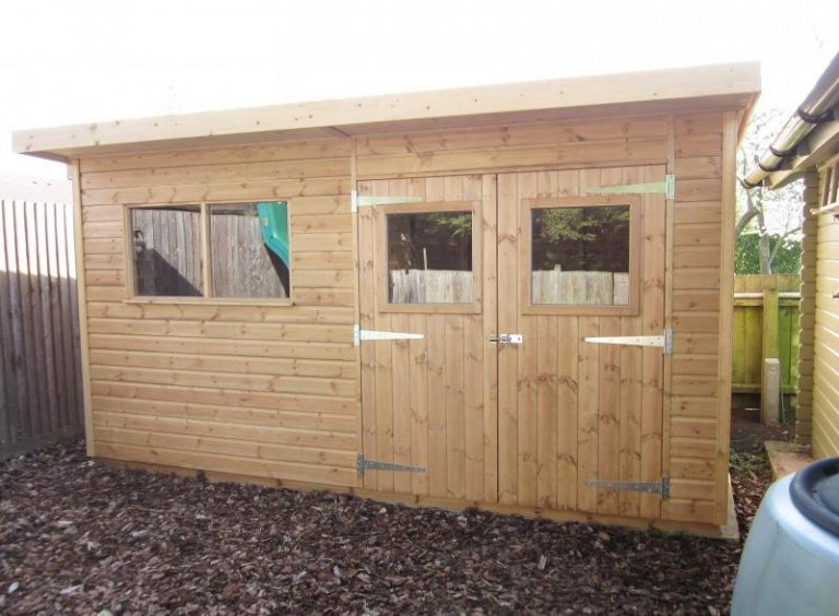 Superior Shed with Pent Roof and Overhang - Fulbourn