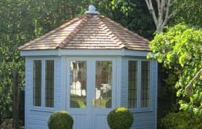 3.0 x 3.0m Wiveton Summerhouse in Sundrenched Blue with Double Glazed Leaded Windows