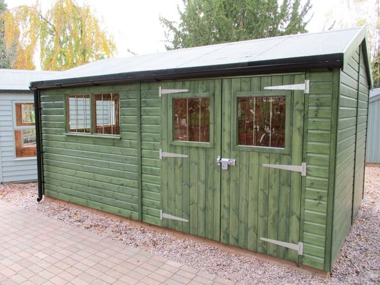 Superior Shed in Sikkens Green with Apex Roof covered in Heavy Duty Roofing Felt