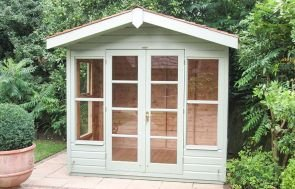 2.4 x 2.1m Blakeney Summerhouse painted in Lizard with Cedar Shingles on the Apex Roof