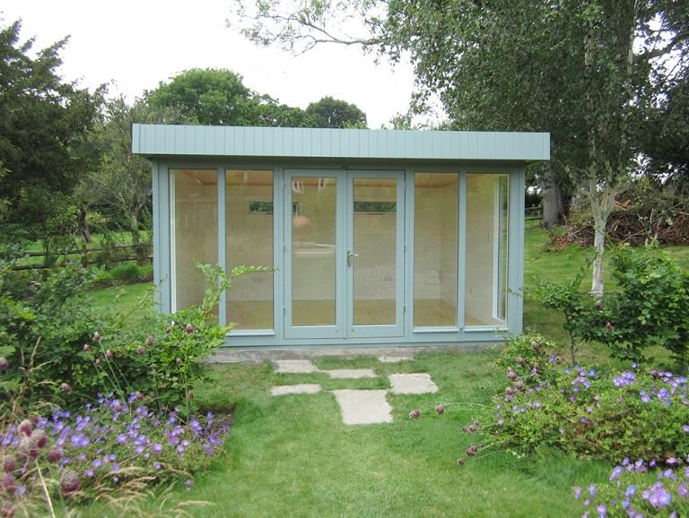 Large Salthouse Studio painted in Sage with a Lacquered Floor