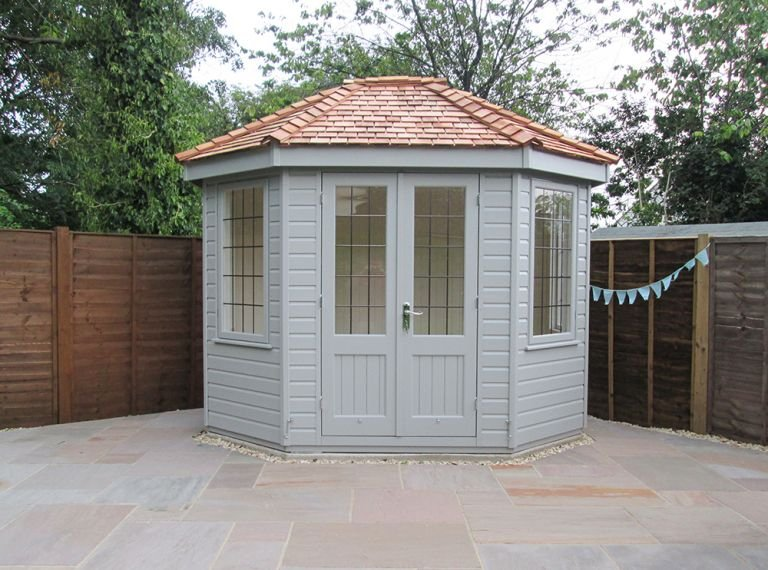 2.4 x 3.0m Wiveton Summerhouse with Shiplap Cladding painted in Pebble and Leaded Windows