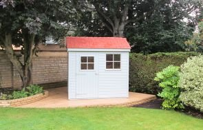 Superior Shed painted in Verdigris from our exterior paint system with Georgian Windows and Terracotta Slate Effect Tiles on the roof