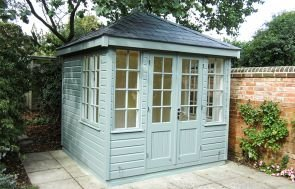 Cley Summerhouse in Sage with Georgian Windows and Grey Slate Effect Tiles on the Hipped Roof