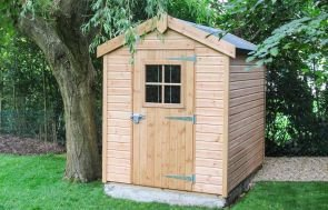 1.8 x 2.4m Superior Shed in Light Oak with Apex Roof and Security Pack