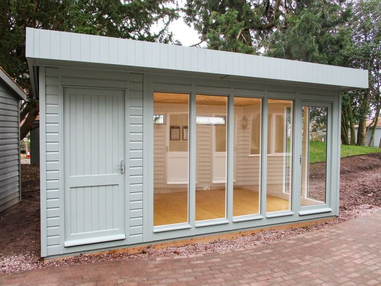 3.0 x 4.8m Salthouse Studio with a Partition painted in Sage