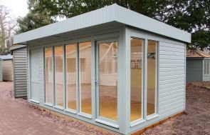 3.0 x 4.8m Salthouse Studio in Sage from our Exterior Paint System with Double Glazed windows and Full Insulation
