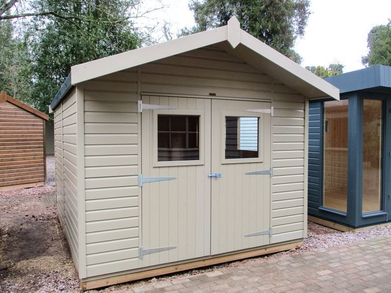 Superior Shed with Roof Overhang painted in Taupe