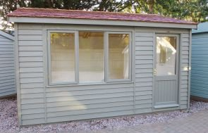 3.6 x 4.2m Ash painted Langham Studio with Cedar Shingles