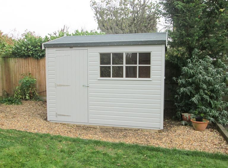 2.4 x 3.0m Superior Shed with shiplap cladding painted in Pebble from our Exterior Paint System