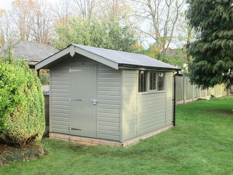 Superior Shed in Ash with Overhanging Apex Roof covered in Grey Slate Effect Tiles