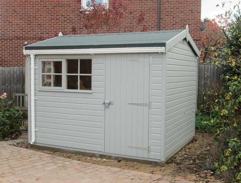 2.4 x 3.0m Superior Shed in Pebble with Apex Roof covered in Heavy Duty Roof Felt and lined with White Guttering