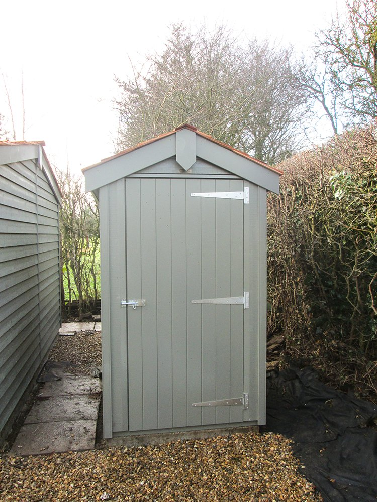 1.2 x 1.8m Superior Shed Painted in Ash with Cedar Shingles on the Apex Roof