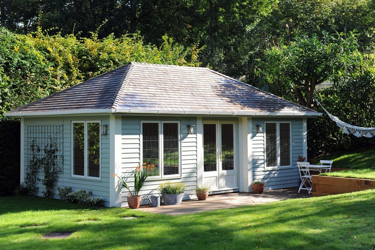 A Stunning Image of the Hipped Roof Garden Room