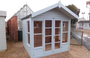 Blakeney Summerhouse in Verdigris Paint with Overhanging Apex Roof covered in Heavy Duty Roofing Felt