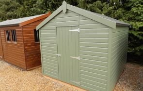 2.4 x 3.0m Classic Shed in Moss with Apex Roof