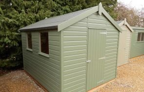 2.4 x 3.0m Classic Shed in Moss with Apex Roof covered in Heavy Duty Roofing Felt